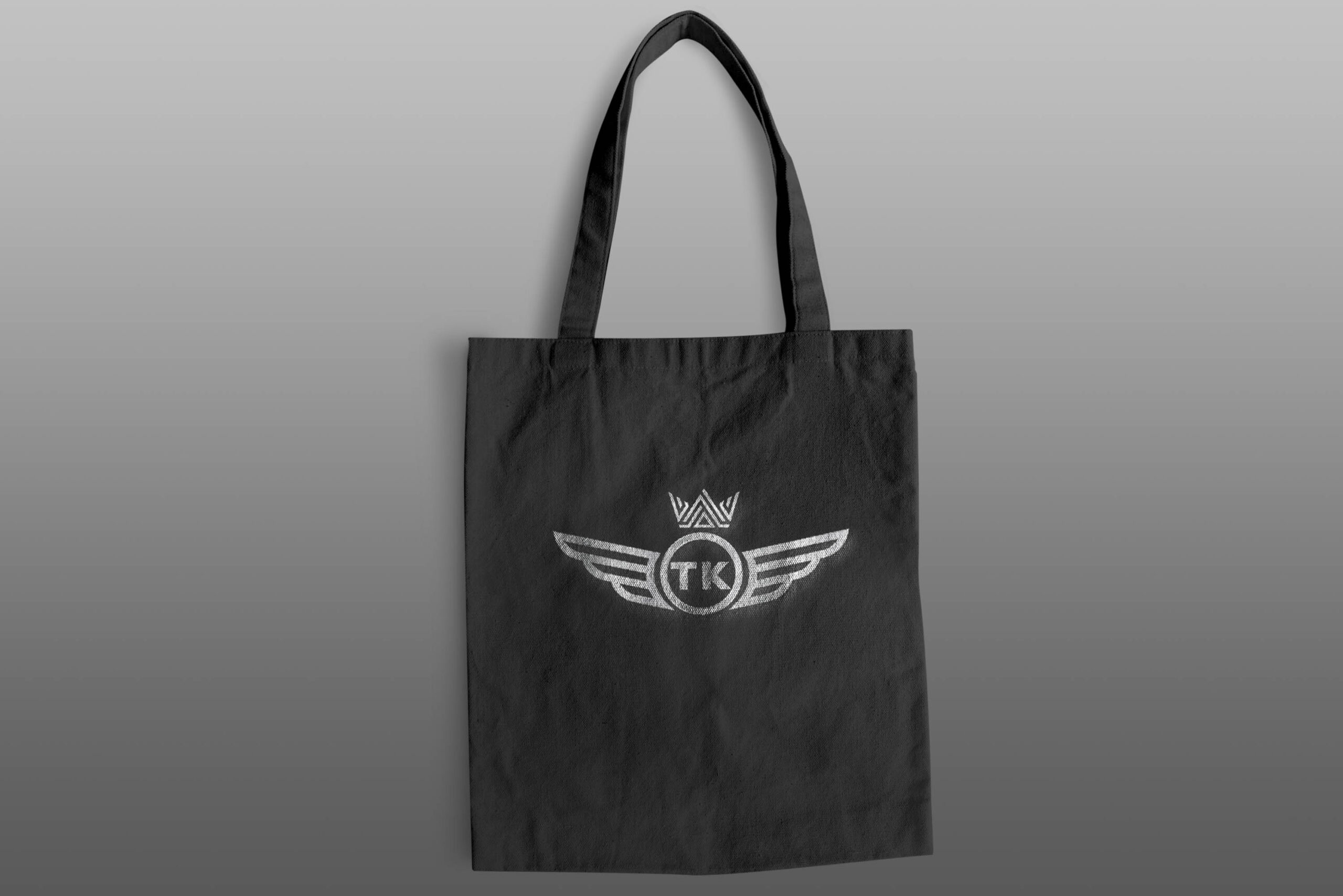 Black Canvas hand bag, with silver logo